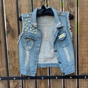 Distressed Pearl Jeans Jackex Cropped Sleeves - XS